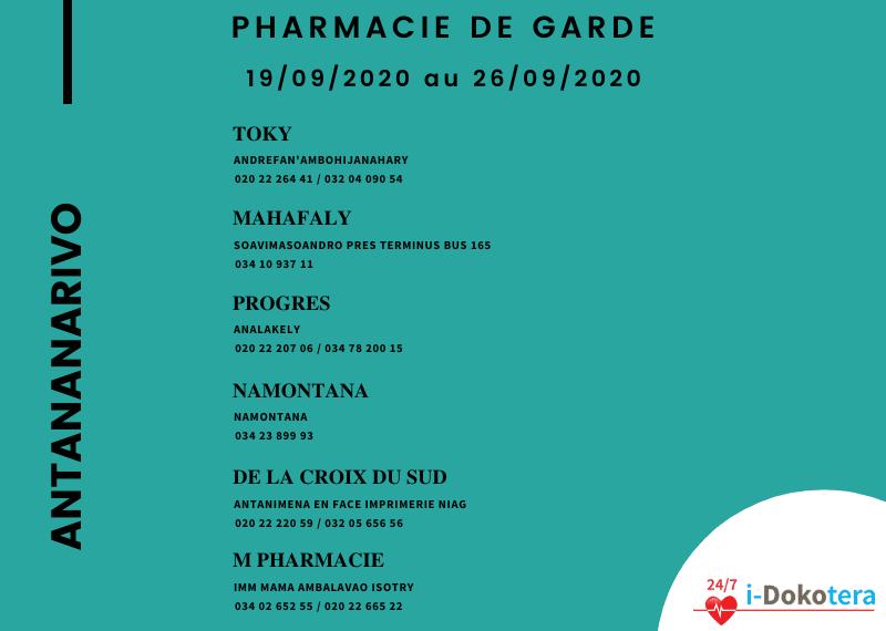 Pharmacie de Garde à Antananarivo du 19/09/2020 au 26/09/2020