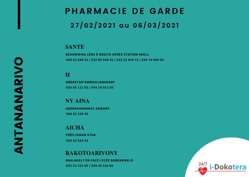 Pharmacie de Garde à Antananarivo du 27/02/2021 au 06/03/2021