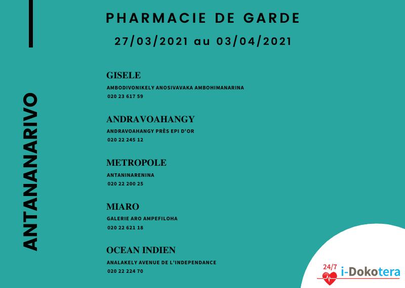 Pharmacie de Garde à Antananarivo du 27/03/2021 au 03/04/2021