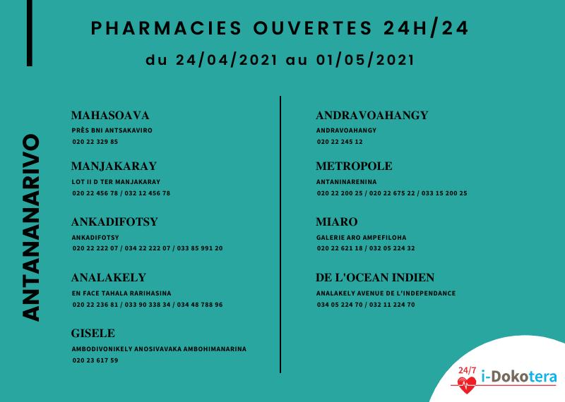 Pharmacies de Garde à Antananarivo du 24/04/2021 au 01/05/2021